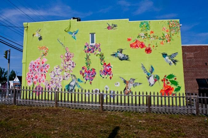 Riverhead, Mural, Public Art, Hummingbirds, Flowers, Chartreuse, Long Island, Art,